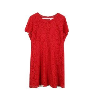 J. CREW 18 Red Maroon Floral Lace Dress Short